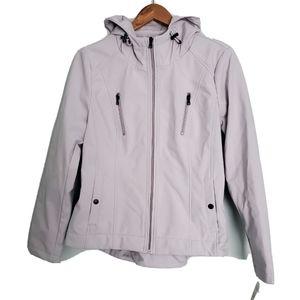 NWT Sebby Light Grey Hooded Raincoat